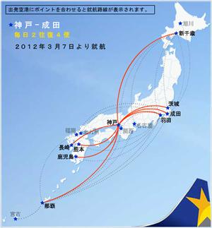 神戸発着のスカイマークの運航路線